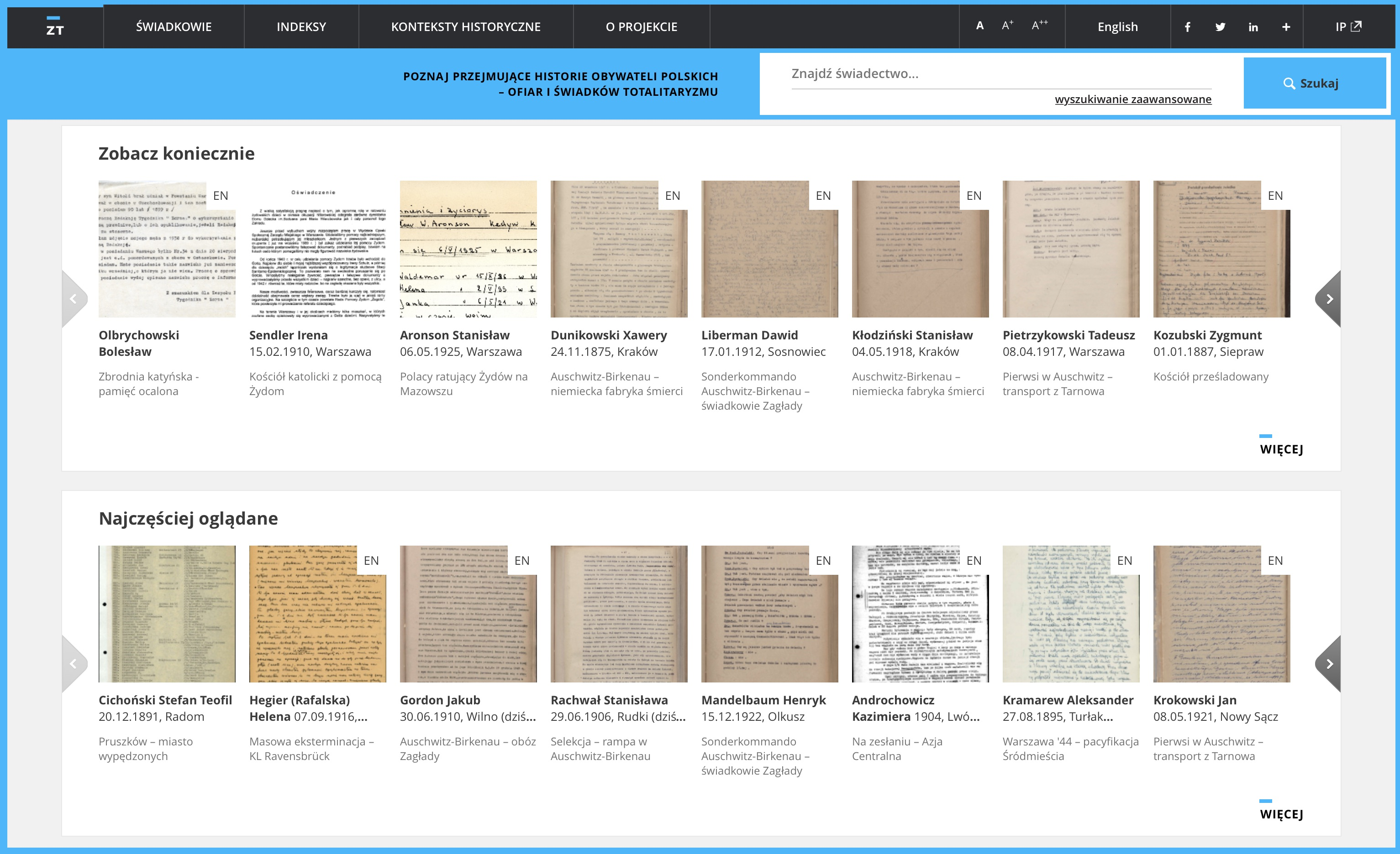 Zapisy Terroru – portal o historii i zbiór świadectw ludności